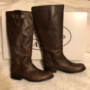 Steve Madden Trysst Brown Leat Tall Leather Boots
